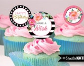 Printable Birthday Party Cupcake Toppers/Favor Tags - Elegant Floral Black & White Stripe, Gold Glitter / 2 inch Favor Tags INSTANT DOWNLOAD