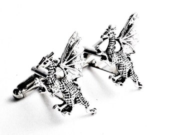 SALE Silver Winged Dragon Cufflinks, Men's Handcrafted Medieval Reptile Fire Serpent Beast Cuff Links- Guys Prom Groom Wedding Gift for Man