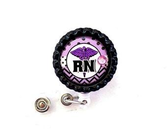 PURPLE RN Nurse Bottle Cap Retractable Badge Holder ID Reel  Worker Badge with Gem