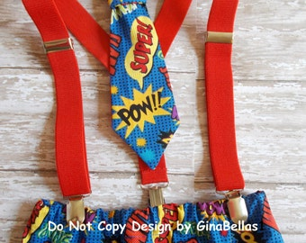Superhero costume Birthday boys cake smash diaper cover bow tie or tie optional suspenders little man 1st photo prop size 12 18 24 toddler