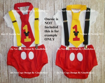 Mickey Mouse Birthday cake smash outfit suspenders clubhouse first baby I am one tie diaper cover Bodysuit NOT INCLUDED 9 12 18 24 toddler