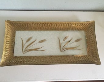 Art deco MCM fused gold glass signed tray