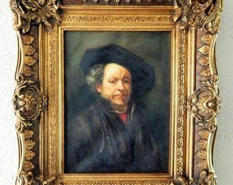 Sale Antique Vintage Oil Painting Portrait of Rembrandt Art O/C Ornate Gold Frame Home Decor