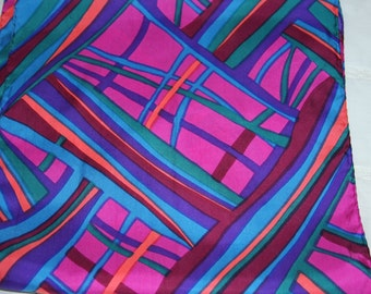 "Silk Scarf in Geometric Pinks, Blue, Purple - 11 x 45"" Long"
