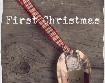 Spoon Ornament -  First Christmas - Photo Frame - Photo Ornament - Upcycled Vintage Spoon - Hand Stamped - #etsygifts (0xxxx-LV)