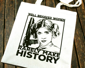 Star Wars Princess Leia - Cotton Canvas Reusable Market Tote Bag