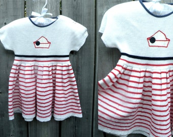 40s-50s Baby Dress - White and Red Striped Nautical Dress - 6-12 mo