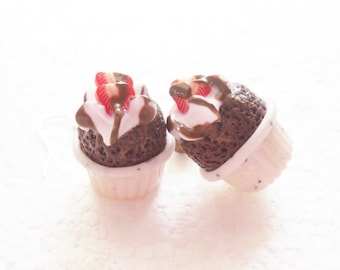Chocolate Souffle Earrings. Polymer Clay.