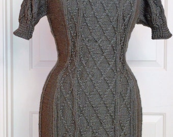 Details about  Handknitted sz Medium Sweater-Dress, Gray