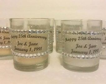 Happy 25th Wedding Anniversary Party Decor, Set of 12 Votive Candles, 25th Anniversary Party Favors, 25th Anniversary Table Decor, Candles