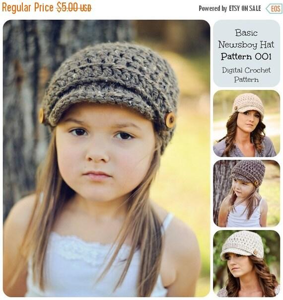 50% OFF SALE Crochet Pattern, Hat Pattern, Basic Newsboy Hat Pattern 001, Brimmed Hat Pattern, Beanie Hat Pattern