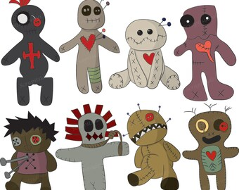 Set of 8 Voodoo Dolls Hand Drawn Digital Clipart Images VG-016 Printable Vectors Graphics Halloween Magic New Orleans Cute Creepy Occult