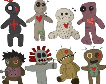 Set of 8 Voodoo Dolls Hand Drawn Digital Clipart Images VG-016 Printable Vectors Graphics Halloween Magic New Orleans Cute Creepy Occult