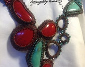 Turq & Red Coral One of a Kind Art Piece .. Turquoise and mediterranean Red Coral created by Lynn Parpard