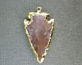 15% Valentines Day Jasper Arrowhead Pendant with 24k Gold Electroplated Layered Edge