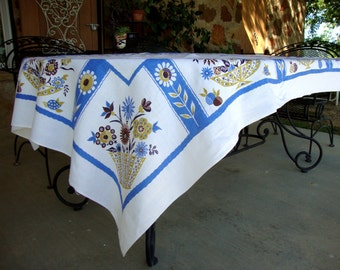 Lovely vintage tablecloth with baskets of flowers blue brown gold heavy cotton tablecloths rectangular rectangle