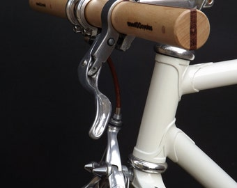 ash and bubinga wood straight bicycle handlebar