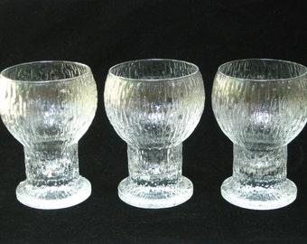 "Iittala Finland KEKKERIT 5"" Red Wine Glasses Set of 3 Stems - Timo Sarpaneva Scandinavian Modern"