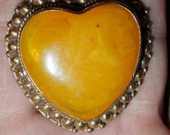 Large Yellow Amber Heart Ring.  Adjustable size
