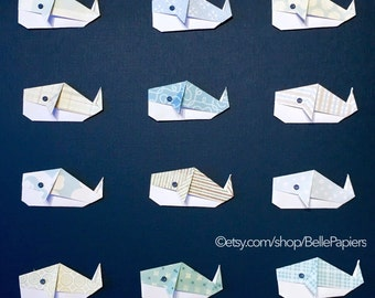 Whale Nursery Wall Art Nursery Decoration Nautical Nursery 3D Art Paper Art Origami Ocean Collage Nursery Wall Hanging Gender Neutral