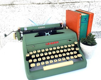 Green ROYAL TYPEWRITER | WORKING Portable Manual Typewriter | Vintage 1950s Royal Quiet De Luxe w/Original Case & Manual | Pro. Serviced