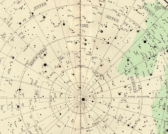 Antique STAR MAP North Polar Constellations vintage star map Astronomy star chart aqua green stars chart