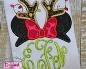 Christmas Minnie Mouse Christmas Applique Monogram Shirt - Girl's shirt - Minnie Applique Shirt - Disney World Vacation Shirt