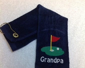Personalized Golf towel, golf cart, crossed clubs, golf green, golf bag, Any name