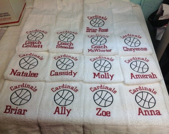 Personalized  basketball towel, with name and number OR school and ball, great seller, volleyball team, message for team orders