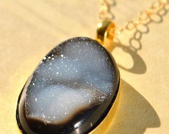 SALE Black Druzy Necklace - Gold Druzy Necklace - Long Druzy Necklace - Agate Druzy Necklace - Black Drusy Necklace - Druzy Jewelry - Druzy