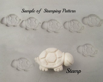 Turtle stamp - Clay Stamps,  Textural Stamps, Ceramic Clay Stamp for ceramic clay, polymer clay, metal clay, soap  (283 )