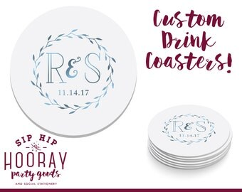 Monogrammed Coasters, Drink Coasters, Wedding Coasters, Custom Favors, Wedding Favors, Personalized Favors, Custom Coasters, 1162, 1322