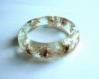 Hand Made Real Light Pink Nigelas  Resin Bangle,Real flowers and leaf,Gift idea