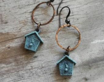 Birdhouse Earrings Tiny Green Earrings Brass Verdigris