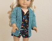 Seafoam Green and Black Doll Cardigan ~ Fits 18 Inch Dolls ~ Doll Clothes