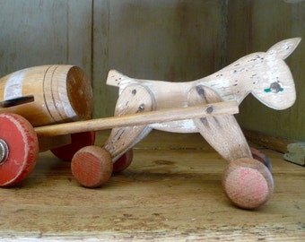 Vintage French Horse Toy Wood Wooden Pull Toy on Wheels Country Cottage Chic Nursery Decor
