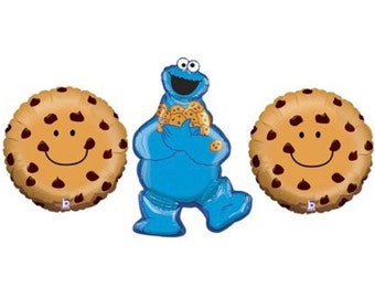 "Cookie Monster Balloon Large 31"" Mylar and 21"" Chocolate Chip Cookie Monster Party Sesame Street Party Food Balloon Pack of 3 Balloons"