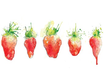 Giclee Fine Art Print: Strawberry Line Watercolour Painting