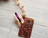 Long Boho Necklace - Free Spirit Jewelry - Bohemian Jewelry - Gemstone Pendant Necklace - Gypsy Necklace - Quartz Necklace