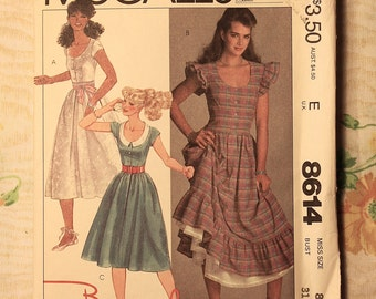 McCall's Sewing Pattern 8614 Miss Size 8 - Brooke Shields Pullover Dress 1983