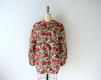 1940s smock top . vintage 40s red roses blouse