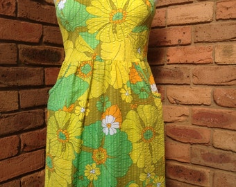 Retro Sundress Bold yellow, green and olive print. Size 14  READY TO SHIP