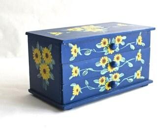 Vintage Jewelry Box - Sunflowers - Hand Painted -Wooden Box - Storage - Organizer - Three Drawers - Wooden Knobs - Display Case