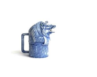 Vintage Porcelain Bear - Creamer - Small Milk Pitcher - Figural Milk Jug - China Bear - Blue and White Porcelain Bear - Collectibles - Home