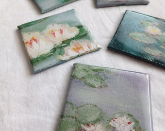 MONET Inspired Magnets Hand Painted Water Lilies