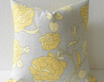 SALE Yellow and natural  floral decorative pillow cover