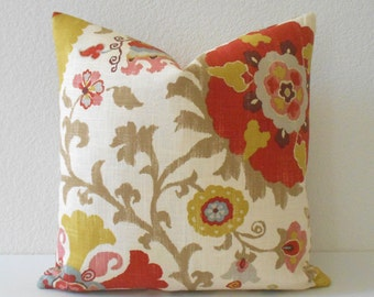 Multi-color floral suzani pillow, yellow, red, tan, blue decorative pillow cover