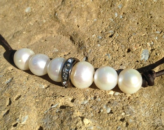 Crystal Spacer Freshwater Pearl and Leather Necklace