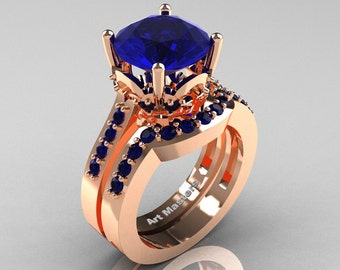 Classic 14K Rose Gold 3.0 Carat Blue Sapphire Solitaire Wedding Ring Set R301S-14KRGBS