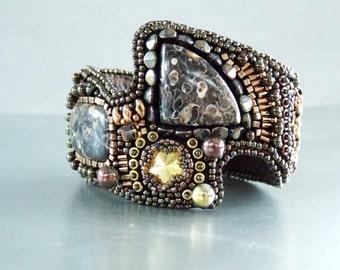 Bead Embroidery,  Bracelet, Statement cuff,  Seed bead bracelet, Swarovski, Turritella Agate, Bronze, Gemstone jewelry